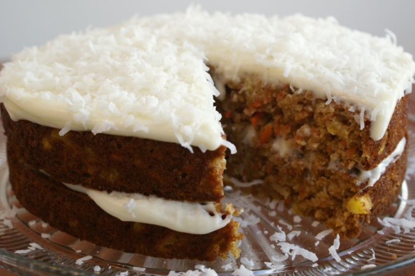 Carrot-Pineapple-Coconut Cake with Light Cream Cheese Frosting