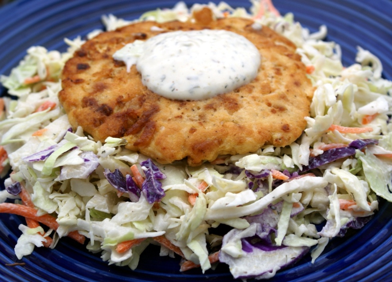 Salmon Burger with Citrus Cole Slaw