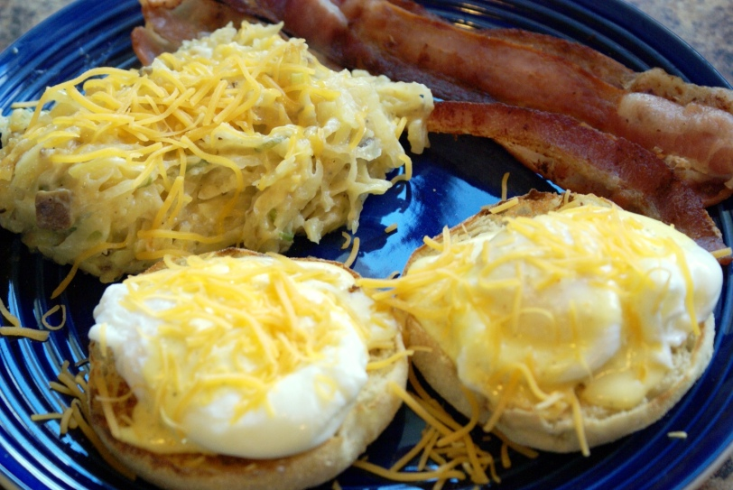 Eggs Benedict, Cheesy Hashbrown Casserole, and Bacon-YUM!