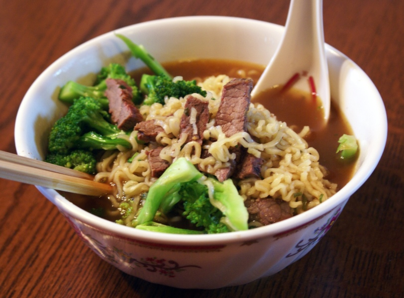 Kung-Fu brand ramen with sliced beef and broccoli