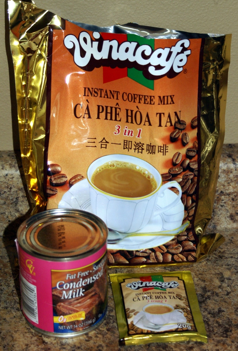 My favorite instant coffee packets and sweetened condensed milk to make a Thai iced coffee at home