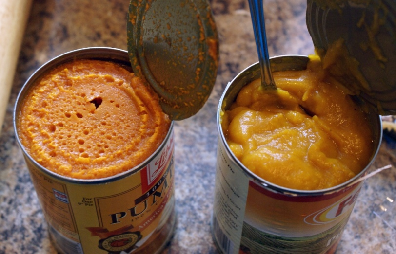 2 different brands of canned pumpkin