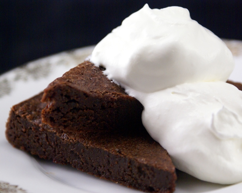 Flourless Bittersweet Chocolate Brownies with Whipped Topping