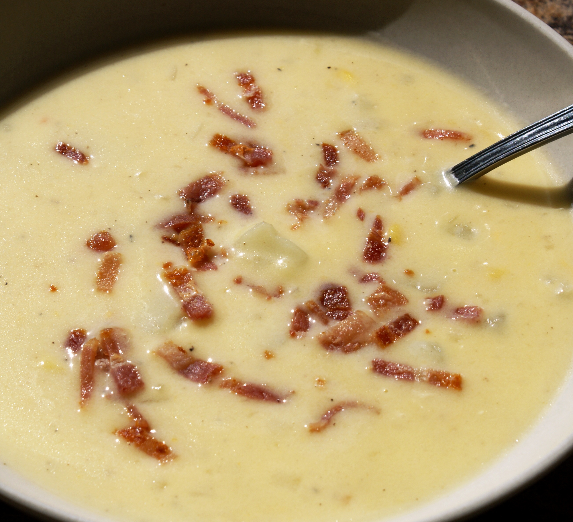 Creamy Potato, Cheddar & Corn Chowder with Bacon, Ham, or Chicken ...