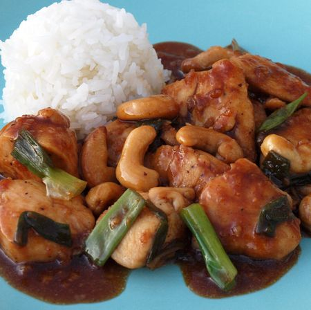 A picture of the Cashew Chicken dish taken directly from www.onceuponachef.com