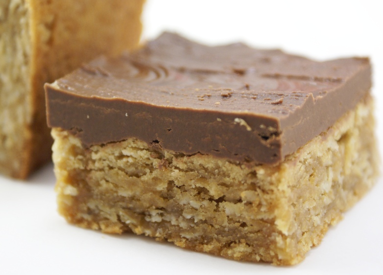 Oatmeal Peanut butter Bars with Firm Chocolate Frosting